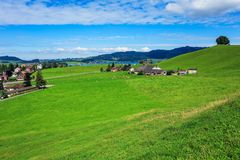 View in the town of Einsiedeln in Switzerland in autumn Royalty Free Stock Images