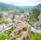 View on town Entrevaux, France, Europe. Miniature tilt shift Stock Photography