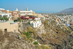 View of the town of Fira on Santorini island Stock Photos