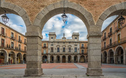 View at the Town Hall with Market place of Avila stock photo