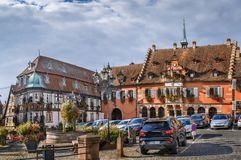 Town hall in Barr, Alsace, France. View of Town hall square with fountain n Barr, Alsace, France stock image