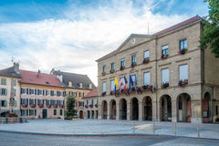 View at the Town hall in Thonon les Bains - France. THONON LES BAINS,FRANCE - SEPTEMBER 2,2016 - View at the Town hall in Thonon les Bains. Thonon les Bains is a stock photo
