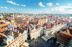 View from town hall tower, old town square Stock Images