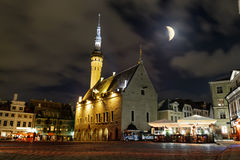 View of the town hall and town hall square in old Tallinn in the Royalty Free Stock Photo