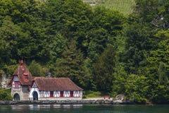 Town Hertenstein on Lucerne lake Royalty Free Stock Photos