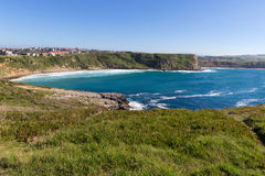 View of the town on the high coast ocean Stock Photo