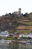 View of Kaub town in the river Rhine valley, Germany royalty free stock photo