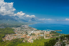 View of the town of Kemer and sea from a mountain. Turkey Stock Photos