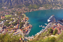 View of town of Kotor and Boka Kotorska Bay. Montenegro Stock Photos