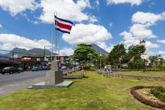 View of the town of La Fortuna in Costa Rica with the Arenal Volcano on the back. Stock Images