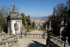 View town Lamego from stairway, Portugal. Royalty Free Stock Photos