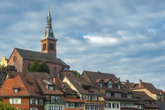 View of the town of Laufenburg with the Heiliggeist Church Royalty Free Stock Images