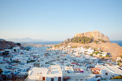 View of the town of Lindos, Rhodes Island Stock Photography