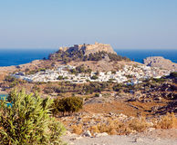 View of the town of Lindos, Rhodes Island Royalty Free Stock Photo