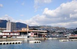 View of the town at Miyajima island, Hiroshima, Japan Royalty Free Stock Photos