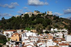View of town, Monda, Spain. Royalty Free Stock Photos