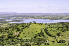 View from town of Monsaraz, on the right margin of the Guadiana Stock Photography