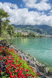 View of  the town of Montreux on Lake Geneva Stock Photo