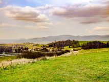 View on town of Mosty u Jablunkova and Silesian Beskid in Czechia. View on town of Mosty u Jablunkova near slovakian border and Silesian Beskids mountain range Stock Photography