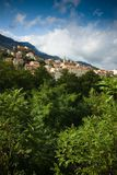 View of town in mountains Royalty Free Stock Photography