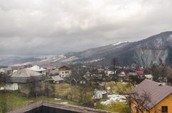 A view on the town and mountains royalty free stock photography