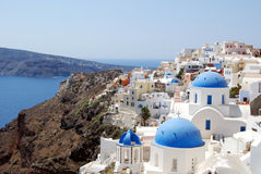 View of the town of Oia with its domes Santorini Royalty Free Stock Photography