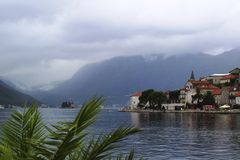 View of the town of perast near kotor in montenegro stock photography
