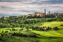 View of the town of Pienza at sunset Stock Photo