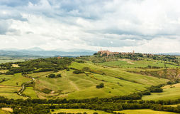 View of the town of Pienza with the typical Tuscan hills Stock Photo