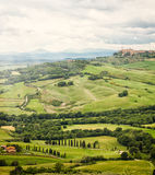 View of the town of Pienza with the typical Tuscan hills Royalty Free Stock Image