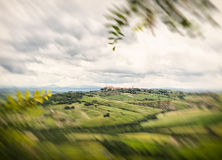 View of the town of Pienza with the typical Tuscan hills Royalty Free Stock Images