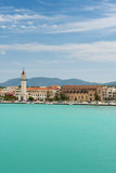 View of the town and port from sea, Greece. Royalty Free Stock Images