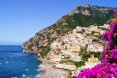 Amalfi Coast view. View of the town of Positano with flowers, Amalfi Coast, Italy stock image