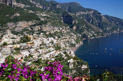 View of the town of Positano with flowers Stock Photos