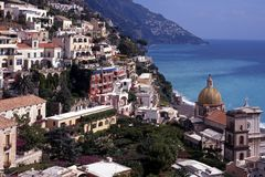View of town, Positano, Italy. Stock Image