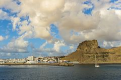 View of the town at Puerto de Las Nieves, Gran Canaria.  stock images