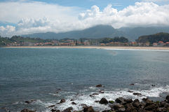 View of the town of Ribadesella. Asturias, Spain, from the coast Stock Photography
