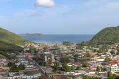View of the town of Rio Caribe. In Venezuela royalty free stock photography