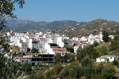 View of town, Sayalonga, Spain. View of the town and church with mountains to the rear, Sayalonga, Axarquia region, Malaga Province, Andalusia, Spain, Western Stock Photos