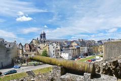 View of town Sedan from castle rampart, France Royalty Free Stock Photo