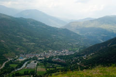 View of the town Sort in Pyrenees Spain stock photo