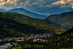 View of the town Sort in Pyrenees Spain. Sort is the capital of the comarca of Pallars Sobirà, in the province of Lleida, Catalonia, in the country of Spain. It Stock Image