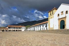 A view of the town square in Villa De Leyva, Colombia. South America Stock Photography