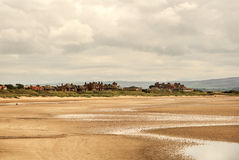 View of the town of Troon in Scotland. Low tide Royalty Free Stock Images