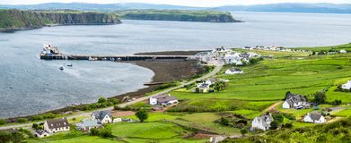 View of the town Uig with it`s harbour connection to the outer hebrides. Scotland United Kingdom Stock Photography