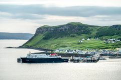 View of the town Uig with it`s harbour connection to the outer hebrides. Scotland United Kingdom Royalty Free Stock Photo