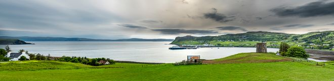 View of the town Uig with it`s harbour connection to the outer hebrides. Scotland United Kingdom Royalty Free Stock Images