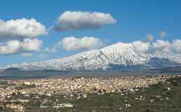 View Of Town Under Volcano Etna Royalty Free Stock Photography