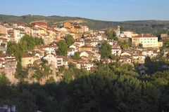 View from town Veliko Tarnovo in Bulgaria. Landscape royalty free stock photo