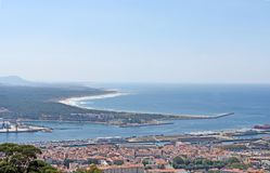 View of the town of Viano do Castelo from the Sanctuary of Santa. Luzia Royalty Free Stock Image